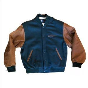 Vintage Nike Wool Leather Jacket MURPHY BROWN Med